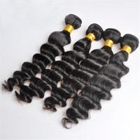 Wholesale human hair wefts deep waves resale online - Peruvian Human Remy Virgin Hair Loose Deep Wave Hair Weaves Natural Color g bundle Double Wefts Bundles Hair Extensions