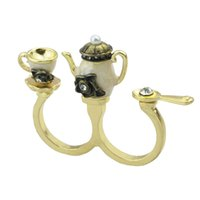 Wholesale Antique Cup Plate - vintage style Charming hot-sale rhinestone coffee kettle cup antique double finger rings