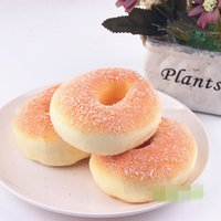 Wholesale Powdered Fruit Wholesale - Smiley face powder bread donut Slow Rising Squishy Rainbow sweetmeats ice cream cake bread Strawberry Bread Charm Phone Straps Soft Fruit