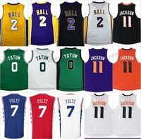 2017 New No.1 Draft Piack 2 Lonzo Ball jersey Men s  7 20 Markelle Fultz 11  Josh Jackson 0 Jayson Tatum Basketball Jerseys Embroidery Logos ... 9fa4bc684