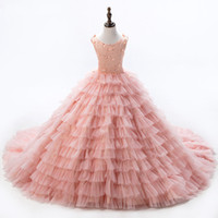 Wholesale Peach Baby Dress - High Quality Baby Peach Pageant Dresses For Girls Glitz Flower Girl Dresses Sleeveless Ball Gowns Girls Communion Dress