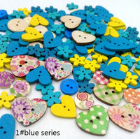 Wholesale Wooden Buttons For Scrapbooking - Wooden Buttons mixed size color 2 holes for handmade Gift Box Scrapbooking Crafts Party Decoration DIY Sewing draw