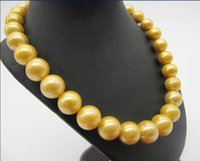 "ingrosso 12 mm-Fine Pearl Jewelry ENORME 18 ""12-16 MM NATURAL SOUTH MARE GENUINO ORO COLLANA PERLA ROTONDA 14k"
