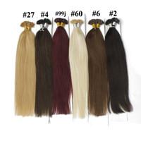 tırnak ucunu kaynaştırma saç uzantıları toptan satış-100 g / paket U Ucu Saç Uzatma Tırnak Prebonded Fusion Düz Saç 100 tellerinin / paketi Keratin Sopa Brezilyalı İnsan Saç # 18 # 10 # 8 # 1B # 613