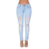 çamaşır suyu rahat toptan satış-2017 Moda Bayanlar Casual Denim Pantolon Kadın Streç Bleach Ripped Skinny Jeans Kadın için Fermuar Denim Kot Oymak