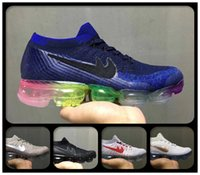 2018 Cheap Air Cushion Hombres Mujeres Zapatillas Negro / Rojo / Gris / Púrpura Transpirable Rainbow Unisex VapormaXes Athletic Sneakers En Oferta
