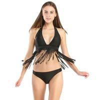 Wholesale Tassel Halter Sexy Bikini Swimwear - 2017 Bikini Set Swimwear Women Brand Sexy Swimsuits Tassel Halter Swimwear Summer Beach Bathing Suits