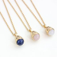 Wholesale Gold K Charm - Fashion Luxury Natural Stone Pendant Necklace Charm Brand Jewelry K Gold Plating Chain Pendant Necklace For Women