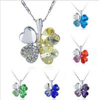 österreich blumenanhänger großhandel-Fashion Romantic Austria Crystal Clover Blume Tropfen Anhänger Halskette mit Swarovski Elementen Multi Color Halskette Multicolor Optionen a445