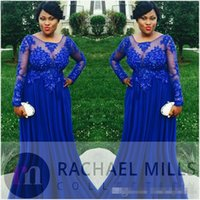 2017 Royal Blue Plus Size Abendkleider mit langen Ärmeln Sheer Chiffon Appliques Lace Empire Formal Hochzeiten Gast Prom Party Kleider