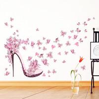 kelebek çiçekli kız toptan satış-Moda Yüksek Topuk Ayakkabı Uçan Kelebekler Kalp Çiçek Duvar Sticker PVC Çıkartmaları Ev Dekor kızın Odası Dekor Posteri