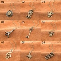 Wholesale Key Cap Owl - 30 models mixed order vintage retro brass bronze tone pendant necklaces key cap owl multiple charms pendant necklaces #nl172