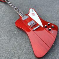 griffbrett inlay gitarre großhandel-Benutzerdefinierte VOS Firebird Thunderbird transparente rote E-Gitarre Mini Humbucker Pickups Chrome Hardware Trapez MOP Griffbrett Inlay