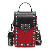 Wholesale Clutch Bags For Girls - small rivet crossbody bag mobile phone bag famous brand designer women bags 2017 vintage fashion handbag turquoise clutch wallet for girl