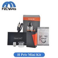 Wholesale E Cigarette H - Original SMOK H Priv Mini 50W Kit 1650mah E Cigarette Starter Kit Top Refilling Brit Mini Tank