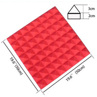 Wholesale Insulation Soundproofing Materials - 2017 Hot Sale 19.6''x19.6''x1.9'' Red Polyurethane Acoustic Pyramid Tile Studio Foam Panel Soundproofing Foam Insulation Materials
