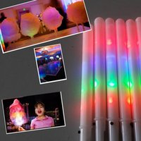 Wholesale Candy Floss Sticks - Food Grade 8 Function LED Flashing Cotton Candy Cone Fairy Floss Sticks Novelty glow sticks for concert