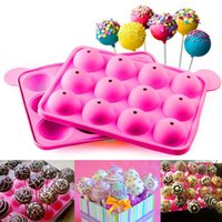 Wholesale Mould Candy Lollipop - 12 Holes Mould Silicone Round Shape Party Moulds Cake Cookie Candy Chocolate Maker Baking Tool Tray Lollipop Pop