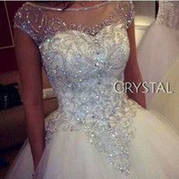 Wholesale Cheap Gorgeous Wedding Dresses - 2017 Gorgeous Dazzling Chapel Train Princess Wedding Dresses Sheer Neck Real Image Luxurious Rhinestones Crystal Church Bridal Gowns Cheap