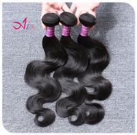 bakire brezilya saç örgü ürünleri toptan satış-AiS 6A Brezilyalı Saç Vücut Dalga Saç Örgüleri 3 Paketler Virgin İnsan Saç Dokuma Çift Atkı Demetleri Renk 1B Ürünleri Remy Uzantıları