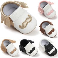 Wholesale Mustache 12 - cute tassel PU Leather Baby Shoes Baby Moccasins Newborn Shoes Soft Infants Crib Shoes Sneakers beard mustache print First Walker for kid