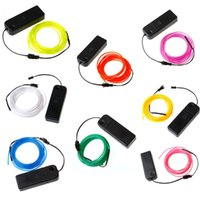 Wholesale El Neon Yellow - 3M Flexible EL Wire Neon LED Light Rope Battery Powered Shoes Clothin g Car Decoration Waterproof LED strip DEL_01O