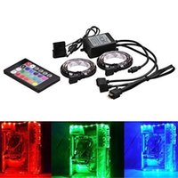 Wholesale remote computer control - Full Kit RGB 5050 SMD 2pcs 18leds Computer RGB LED Strip Light with Remote Control Waterproof Flexible Led Strip DC 12V for PC Computer Case