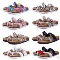 Wholesale Light Yellow Sandals - 2017 New Summer Beach Cork Slipper Flip Flops Sandals Women Mixed Color Casual Slides Shoes Flat Free Shipping Plus SizeLarge size couples