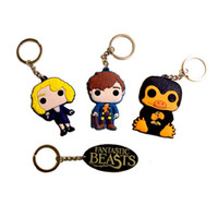 Wholesale Cartoon Pendent - PVC Fantastic Beasts and Where to Find Them Newt Scamander Niffler Pendent Key Chains Keychain rings Women Men Harry Jewlery 161705