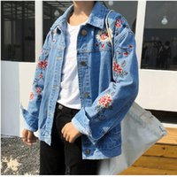 Wholesale Womens Short Denim Jackets - Womens Jeans Embroidery Flower Jackets Short Tops Vintage Long Sleeve Denim Coat For Women Clothing Chaquetas Mujer Blue Jean Outwear
