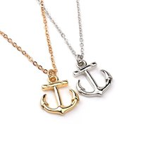 Wholesale Boat Vessels - Trendy Silver gold Plated Alloy Statement Seafarers sailor crew Seaman ferry vessel boat Necklace ship Pendant anchor Necklace man 2017 x361