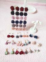 Wholesale Cloth Earrings - Mix 30 styles flowers Cloth pearl microscope stud earrings mixed batch allergy free earrings