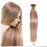 Wholesale Human Hair Italian Keratin - Pre Bonded U Tip Hair Extensions Italian Keratin Fusion Hair Extension Brazilian Remy Human Hair 1G Strand 100PCS Lot #12#18#27 Nail Tip