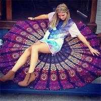 xales impressos boêmios venda por atacado-143 cm durável mulheres bohemian indiano persa impresso rodada xaile chiffon tapeçaria yoga towel praia em branco cobre para o verão