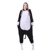 ingrosso pigiami bianchi neri-2017 pigiama di un pezzo con cappuccio da donna carino animale faccia bianca gatto nero pigiama set in pile costume da notte usura unisex