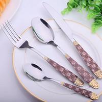 Wholesale Novelty Dinnerware Sets - New 4pcs Set Plated Gold Dinner Knives Fork Cutlery Set Stainless Steel Novelty Silverware Dinnerware Tableware