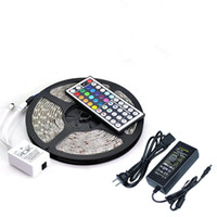 Wholesale Leds Ac - Waterproof Strips IP65 5M 300 Leds SMD 5050 RGB Lights Led Strips 60 leds M + Remote controller + 12V 5A power supply With EU US AU UK Plug