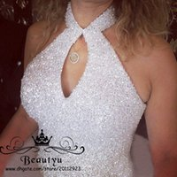 Vestiti da cerimonia nuziale in rilievo di sfera in rilievo di lusso in rilievo 2018 Plus Halter Neck Neckhole Neck Back Tulle Principessa Abiti da sposa Sweet 16 Dress
