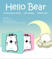 Wholesale Digital Scale Balance Body - Cute Bear A3s USB Charging Scales LCD Digital Display Weight Weighing Floor Electronic Smart Balance Body Household Bathrooms 180KG