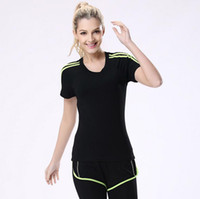 Wholesale Yoga Fitness Clothes - Yoga Gym Women's Short Sleeves Shirts Tops Dry Quick Running Breathable Sportwear Fitness Clothes Ladys Tops