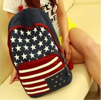 Wholesale Teenagers School Bags Uk - Wholesale- Unisex Canvas teenager School bag American US UK Flag Star-Spangled Banner Campus Backpack bags Schoolbag B5