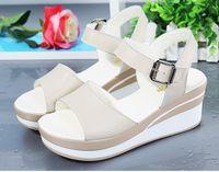 Wholesale Ladies Leather Sandals Wedges - 2017 summer women sandals white wedge sandals Open Toe cow leather platform Sandalias ladies gladiator sandals women