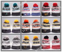 Wholesale Cashmere Hat Sale Women - New Hot Sale Blackhawks Flyers Hockey Beanies Blues Rangers Penguins Sharks Kings Winter Beanie Caps Skull Knit Best Quality Sports Beanies