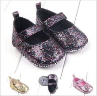Wholesale Cute Baby Girl Cribs - 0-18 Months Newborn Baby Girl Shoes Bling Crib Shoes Prewalker Cute Soft Sole