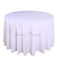 Wholesale Tablecloth Cheap Wedding - 10PC Pack 108 inch Round Wedding Table Cloth 100% Polyester Seamless White Cheap Tablecloths Fitted Home Table Cloth for Wedding Event Decor