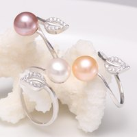 Wholesale Silver 925 Buttons - 8-9mm Natural white Button Pearl Ring Genuine 925 Fresh Water Silver Pearl Ring For Woman Fashion Adjustable Pearl Ring Jewelry