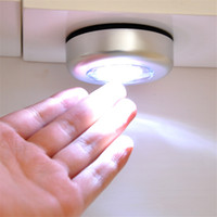 Pats Led for sale - 3LED Touch Lamp Pat Lights Car Ceiling Wall Cabinet Light Round Battery Powered Stick Tap Touch Light Click Lamp