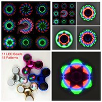 Wholesale Metal Led - Fidget Spinners Chrome Camo LED Fidget Spinner 11 LED Beads 18 Patterns Replaceable Battery Luminous Fingertips Metal Color Hand Spinner