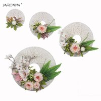 Hot sale 4pcs / set Flores artificiais White Paper Wreath For Wall Decoração Silk Decorative Fake Flowers para casamento Home Party