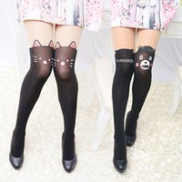 Polyester black dog tattoos - Summer Summer New Arrival Women s Black Cartoon Thin Tights Cute Patchwork Cat Dog Rabbit Tattoo Pantyhose BKBK